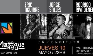 Rodrigo Rivadeneira, Jorge Salles y Eric Aguirre en concierto