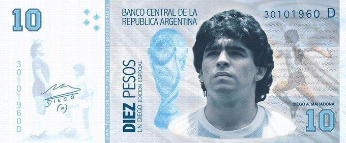 Tuiteros proponen a Maradona en el billete de $10 para que entren dólares al país
